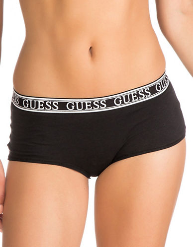 Guess Logo Band Boy shorts-BLACK-Large