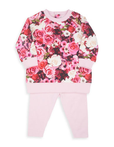 Guess Two-Piece Floral Sweatshirt and Elasticized Leggings Cotton Set-ASSORTED-24 Months
