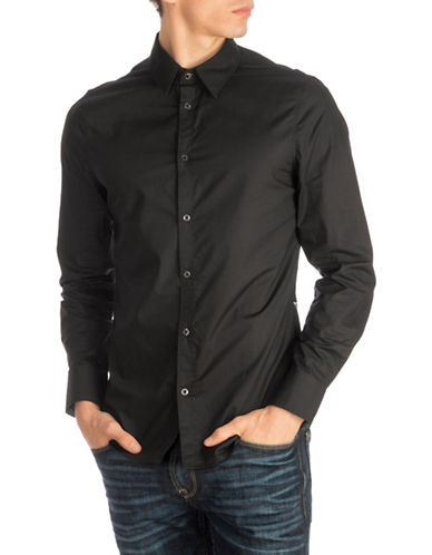 Guess Sunset Cotton Sport Shirt-BLACK-Large