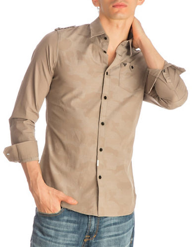 Guess Camou Jacquard Cotton Sport Shirt-DARK GREY-Medium