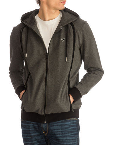 Guess Albert Fleece Hoodie-DARK GREY-X-Large