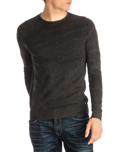 Guess Tonal Camouflage Sweater-BLACK-X-Large