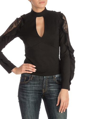 Guess Ruffle-Trim Top-BLACK-Medium
