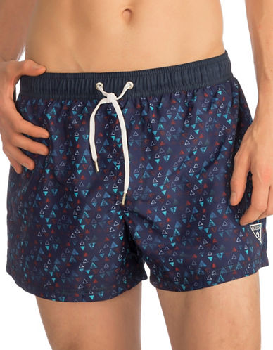 Guess Short Printed Swim Trunks-NAVY-Large