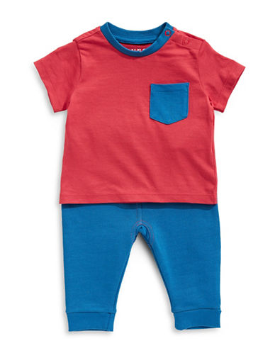 Guess Logo Graphic Cotton Tee and Pants Set-DARK RED-3-6 Months