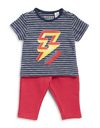 Guess Printed Tee and Pants Cotton Set-STRIPE-6-9 Months
