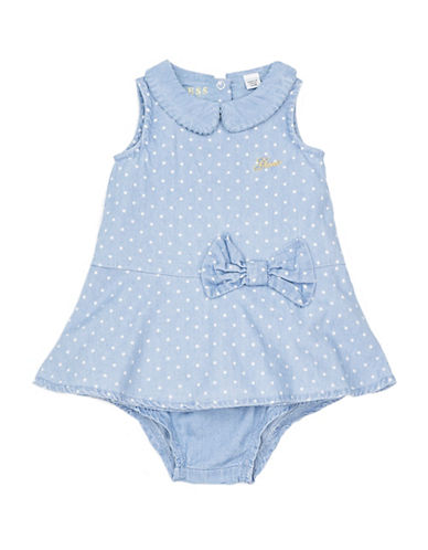Guess Polka Dot Chambray Dress and Bloomers Set-BLUE-24 Months