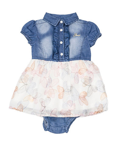 Guess Ruffle Dress and Denim Bloomers Set-MED BLUE-24 Months