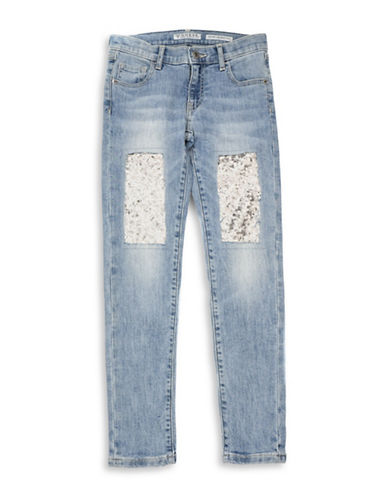 Guess Sequined Skinny Jeans-MEDIUM BLUE-16