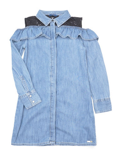 Guess Laced Cold-Shoulder Denim Dress-MULTI-7