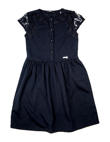 Guess Laced Cap-Sleeve Knit Dress-BLACK-7