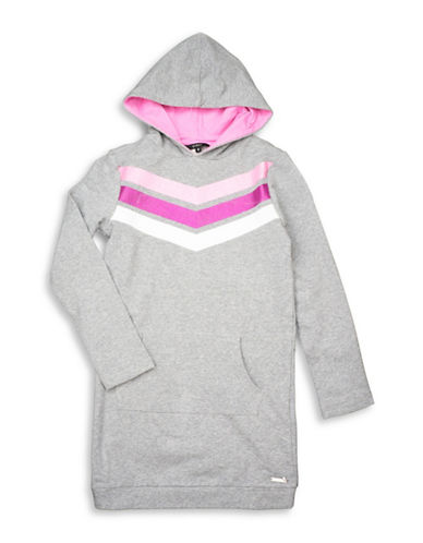 Guess Chevron Hooded Sweater Dress-LIGHT GREY-16