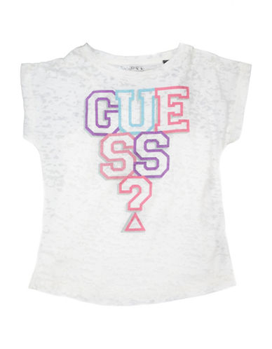 Guess Logo Short-Sleeve Top-TRUE WHITE-3