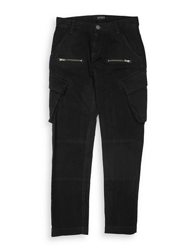 Guess Classic Zip Cargo Pants-JET BLACK-14