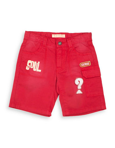 Guess Cotton Cargo Shorts-DARK RED-4