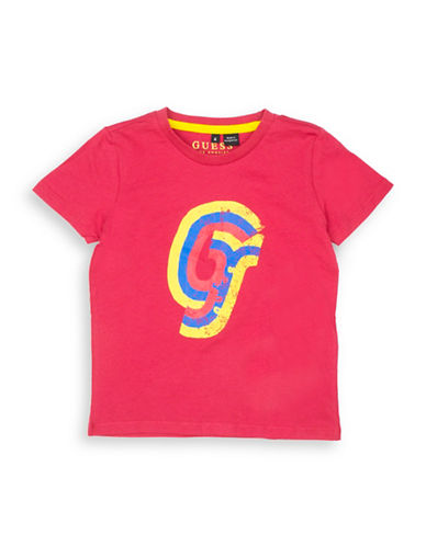 Guess Logo Graphic Cotton Tee-DARK RED-3