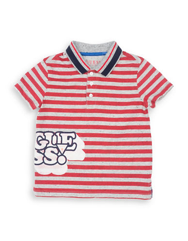 Guess Striped Polo T-Shirt-GREY RED-4
