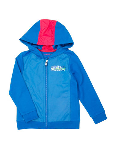 Guess Graphic Fleece Hoodie-BLUE-3