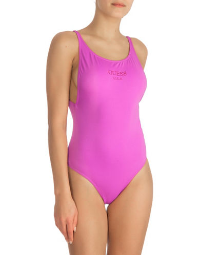 Guess One-Piece Basic Logo Swimsuit-PURPLE-X-Large
