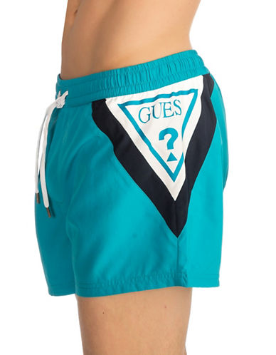 Guess Short Logo Swim Trunks-AQUA-XX-Large
