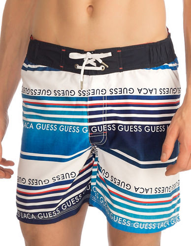 Guess Striped Medium Logo Swim Trunks-YELLOW-Small