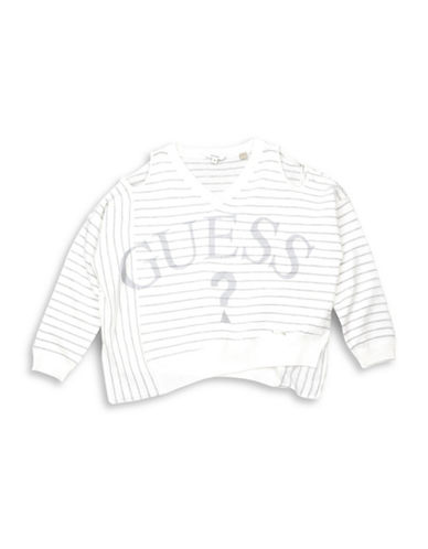 Guess Slouched Cold-Shoulder Sweater-WHITE/GREY-14