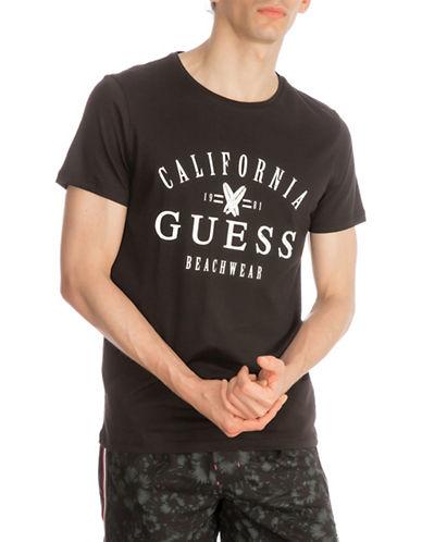 Guess Logo Beachwear Cotton T-Shirt-BLACK-XX-Large 89933296_BLACK_XX-Large