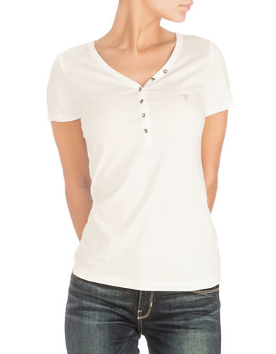 Guess Serafino V-neck Cotton Tee-WHITE-X-Small 89938610_WHITE_X-Small
