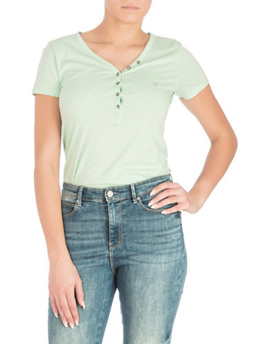 Guess Serafino V-neck Cotton Tee-GREEN-Medium 89938617_GREEN_Medium