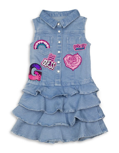 Guess Sleeveless Ruffle Denim Dress-BALLERINA-6