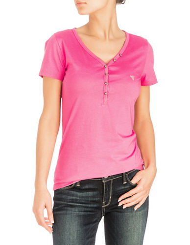 Guess Serafino V-neck Cotton Tee-PINK-X-Large 89938624_PINK_X-Large