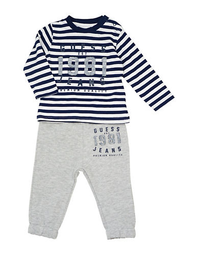 Guess Two-Piece Striped Shirt and Active Pants Set 90147358