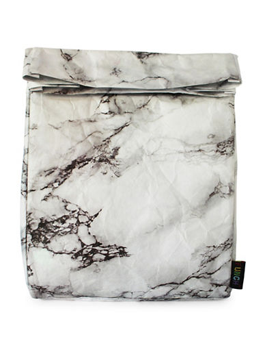 Funch Marble-Print Large Lunch Bag-GREY-One Size
