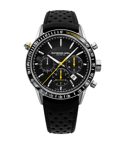Raymond Weil Chronograph Freelancer Stainless Steel Bracelet Watch-BLACK-One Size