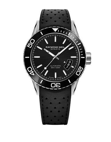 Raymond Weil Freelancer PVD Coated Stainless Steel and Rubber Strap Watch-BLACK-One Size