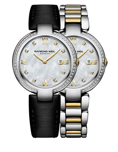 Raymond Weil Shine Diamonds and Gold PVD Plated Stainless Steel Watch and Interchangeable Straps Set-NO COLOR-One Size