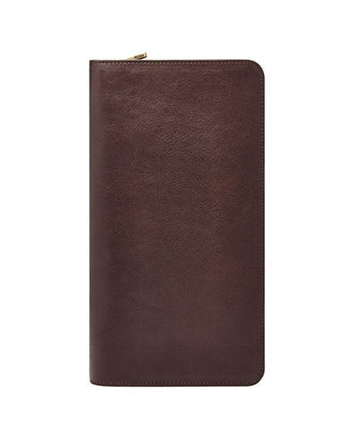 Fossil Multi-Zip Passport Case-DARK BROWN-One Size