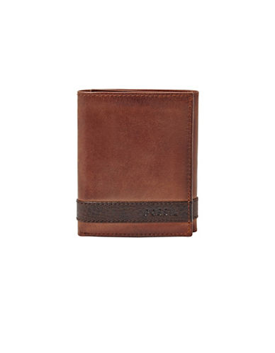 Fossil Quinn Trifold Leather Wallet-BROWN-One Size
