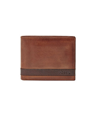Fossil Quinn ID Bifold Leather Wallet-BROWN-One Size