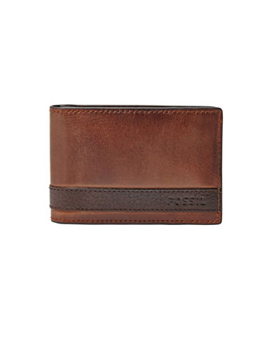 Fossil Quinn Money Clip Bifold Leather Wallet-BROWN-One Size