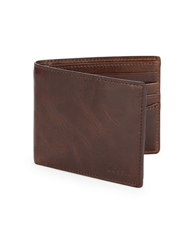 Fossil Leather Bi-Fold Wallet-DARK BROWN-One Size