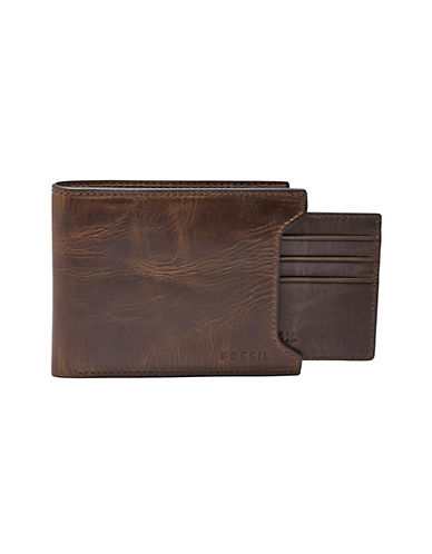 Fossil Derrick Leather Sliding Two-in-One Wallet-DARK BROWN-One Size