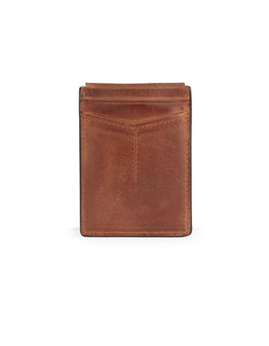 Fossil Quinn Magnetic Card Case-BROWN-One Size