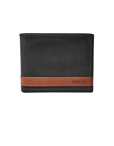 Fossil Quinn Leather Bifold Wallet-BLACK-One Size