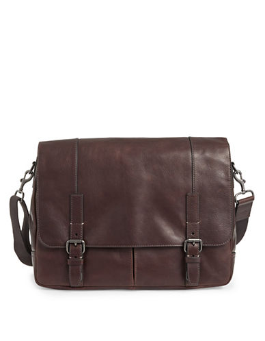 Fossil Graham Leather Messenger Bag-BROWN-One Size