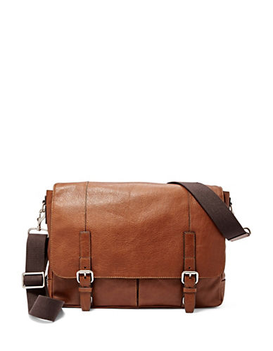 Fossil Graham Leather Messenger Bag-COGNAC-One Size