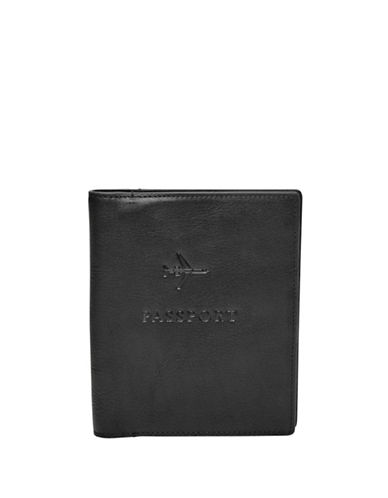 Fossil Leather Passport Case-BLACK-One Size