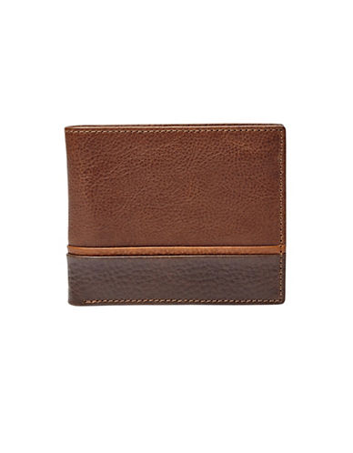 Fossil Ian Bifold Flip-Out ID Window Leather Wallet-BROWN-One Size