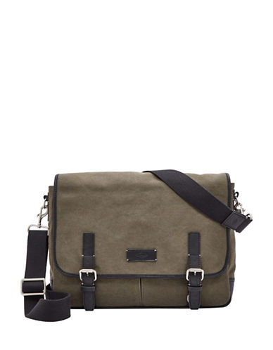 Fossil Graham East-West Messenger Bag-OLIVE-One Size