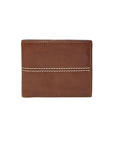 Fossil Turk RFID Bifold Flip-Out ID Window Leather Wallet-BROWN-One Size